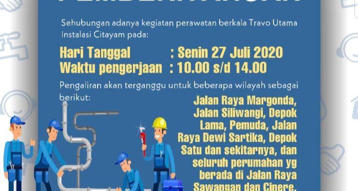 Sehubungan adanya kegiatan perawatan berkala Travo Utama Instalasi Citayam